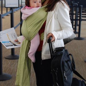 The portable baby wrap carrier Green color